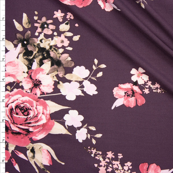 Pink and Tan Rose Floral on Dusty Plum Double Brushed Poly Fabric By The Yard