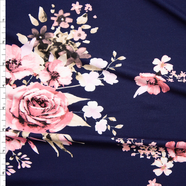 Pink and Tan Floral on Navy Blue Double Brushed Poly Fabric By The Yard