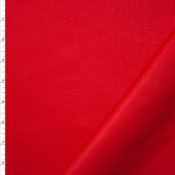 Solid Red Midweight Linen Fabric By The Yard