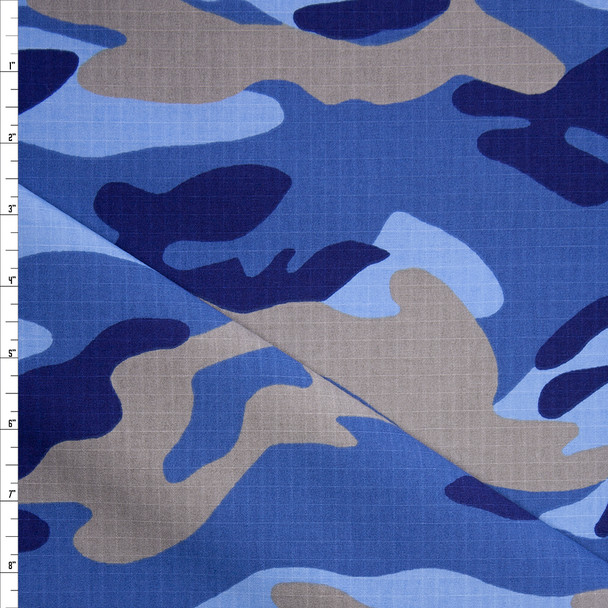 Blue and Tan Camouflage Cotton Ripstop Fabric By The Yard