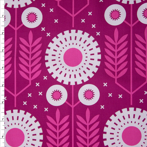 White on Pink Imperial Floral Midweight Cotton Poplin Fabric By The Yard