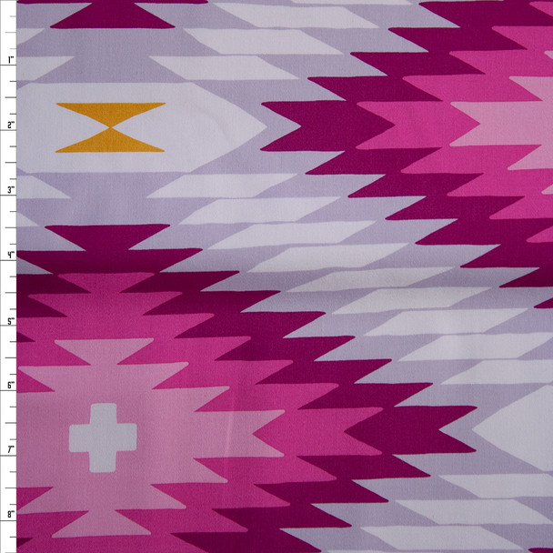 Hot Pink, Grey, and Mustard Jagged Diamonds Midweight Cotton Poplin Fabric By The Yard