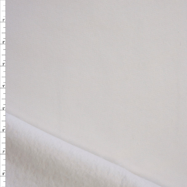 White Heavyweight Cotton Sweatshirt Fleece Fabric By The Yard