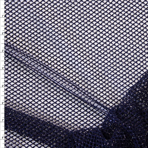 Metallic Silver on Navy Fishnet Fabric By The Yard