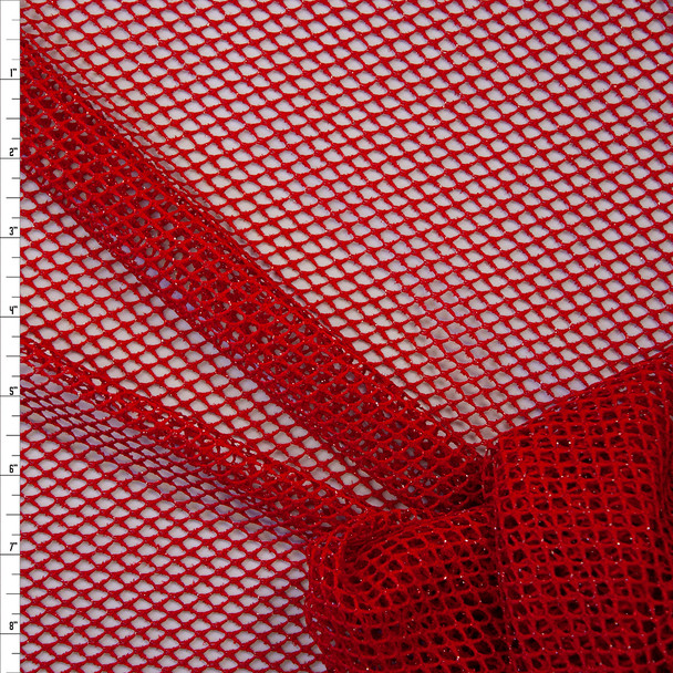 Metallic Silver on Red Fishnet Fabric By The Yard