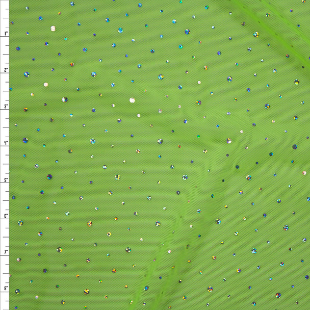 Silver Holographic Sequin on Neon Yellow Power Mesh Fabric By The Yard