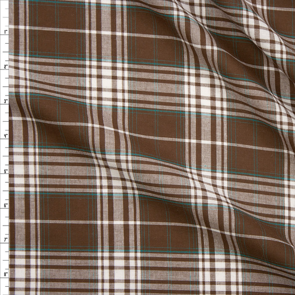 Brown, White, and Teal Plaid Lightweight Cotton Shirting Fabric By The Yard