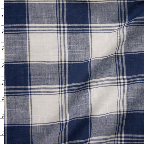Navy and White Lightweight Cotton Shirting Fabric By The Yard