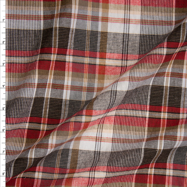 Black, Tan, Red, and White Plaid Lightweight Cotton Shirting Fabric By The Yard