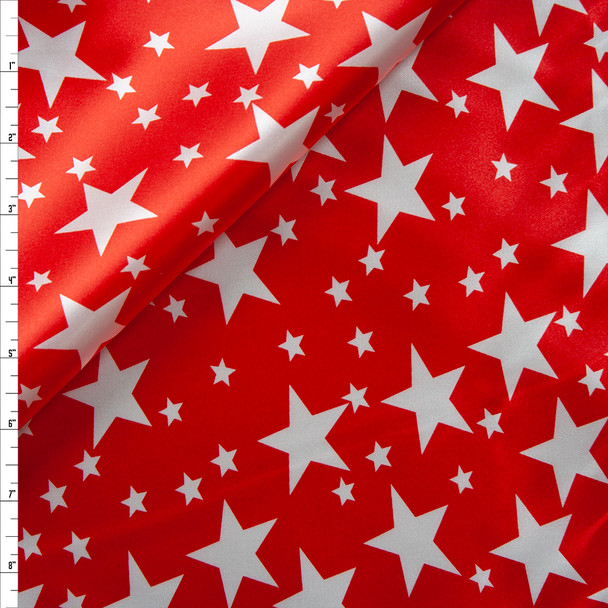 White on Red Stars Lightweight Charmeuse Satin Fabric By The Yard