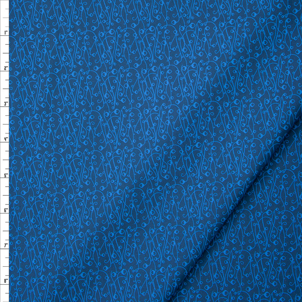 Tootal Super Classic High Count Poplin Blue Scrollwork Fabric By The Yard