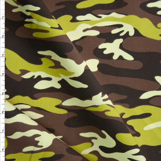 Lime, Brown, and Tan Camouflage Midweight Cotton Canvas Fabric By The Yard