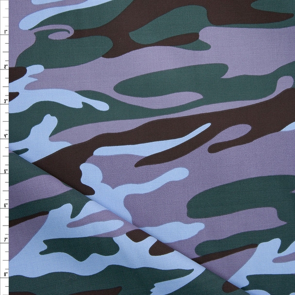 Forest, Light Blue, Dusty Lavender, and Brown Camouflage Midweight Cotton Canvas Fabric By The Yard