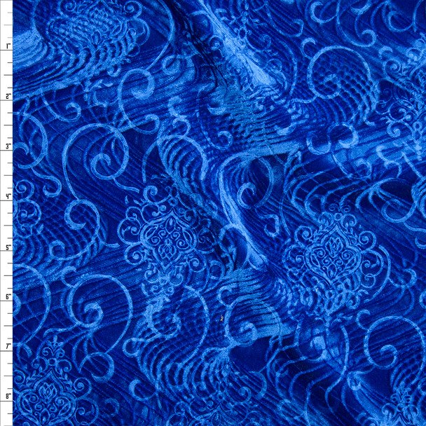 Royal Blue Layered Swirls Embossed Stretch Velvet Fabric By The Yard
