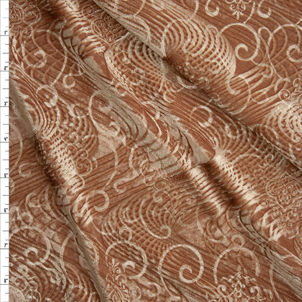 Gold Layered Swirls Embossed Stretch Velvet Fabric By The Yard