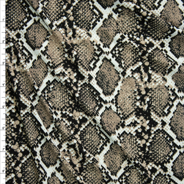 Tan, Black, and Ivory Snakeskin Double Brushed Poly  Fabric By The Yard