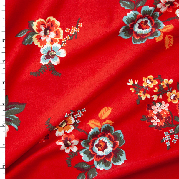 Ornate Floral on Bright Red Double Brushed Poly  Fabric By The Yard