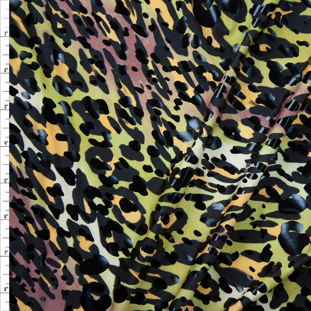 Black Gloss Cheetah on Brown, Avocado, and Yellow Swirl Poly/Spandex Fabric By The Yard