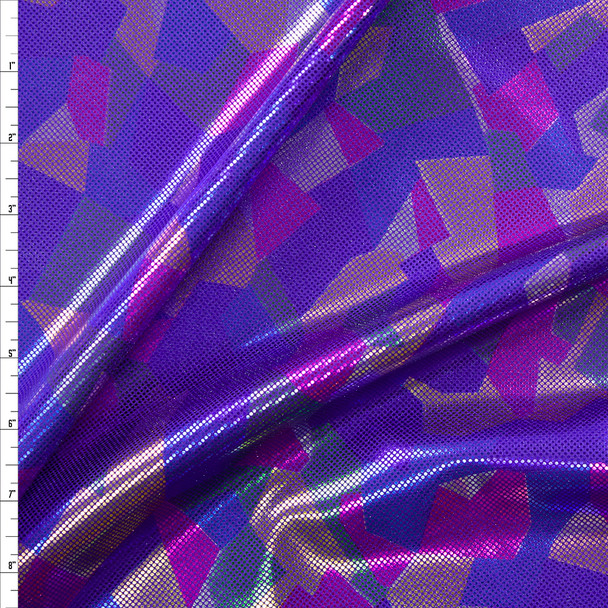 Multi Color Abstract Metallic on Purple Nylon/Spandex Fabric By The Yard