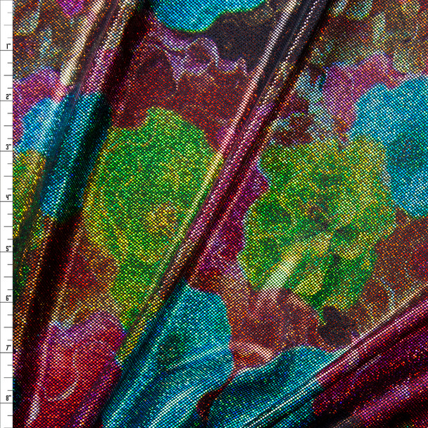 Holographic Multi Colored Flowers on Black Nylon/Spandex Fabric By The Yard