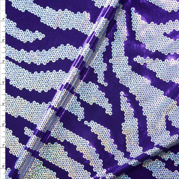 Holographic Silver and Purple Sequin Look Metallic Nylon/Spandex Fabric By The Yard