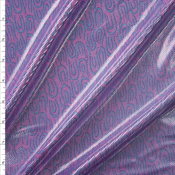 Metallic Silver on Pink and Blue Swirl Nylon/Spandex Fabric By The Yard