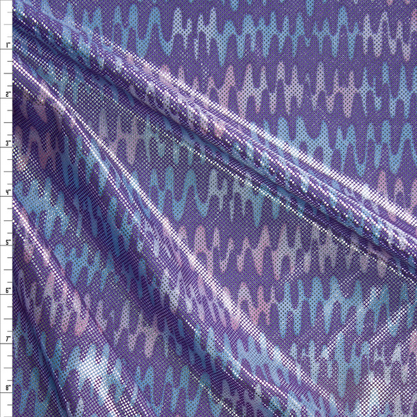 Metallic Silver on Lavender Pink, and Blue Waves Nylon/Spandex Fabric By The Yard