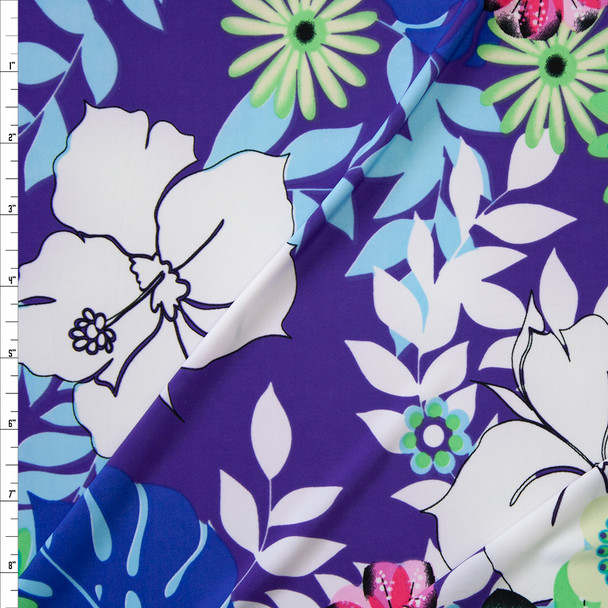 Colorful Floral on Purple Hawaiian Print Lightweight Stretch Knit Fabric By The Yard