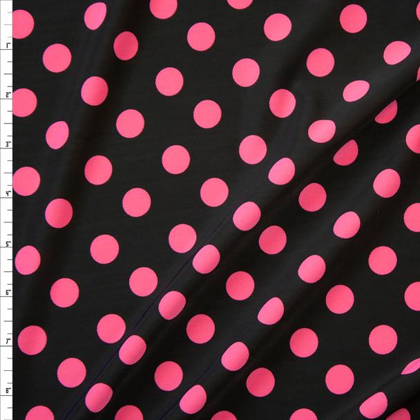 Hot Pink Polka Dots on Black Nylon/Spandex Fabric By The Yard