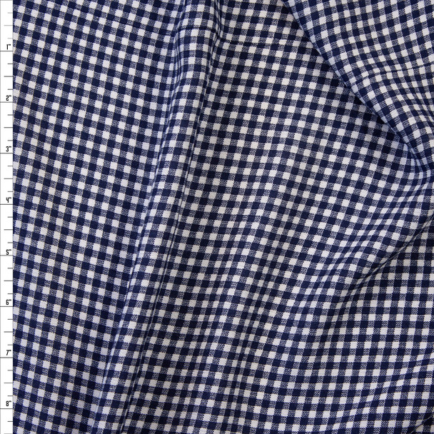 Navy and White Gingham Rayon Gauze Fabric By The Yard
