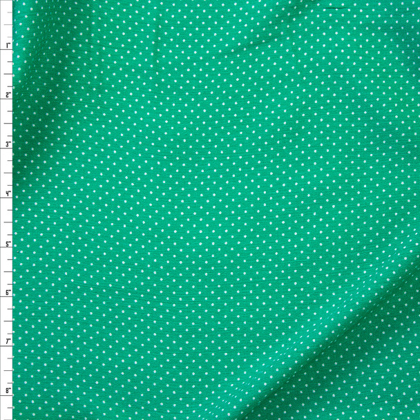 White Pin Dots on Green Rayon Gauze Fabric By The Yard
