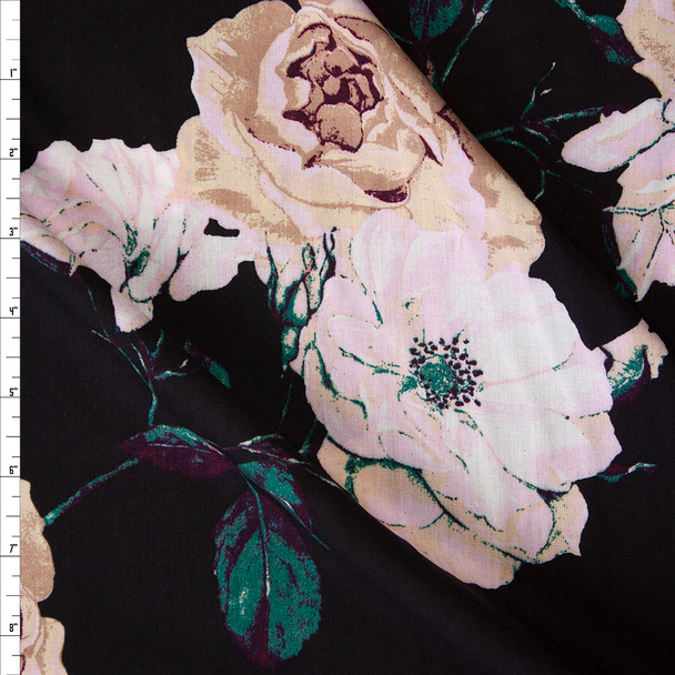 Blush, Ivory, and Emerald Rose Floral on Black Rayon Gauze Fabric By The Yard