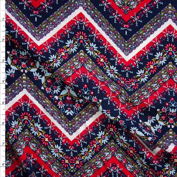Red, White, and Blue Bohemian Chevron Rayon Gauze Fabric By The Yard