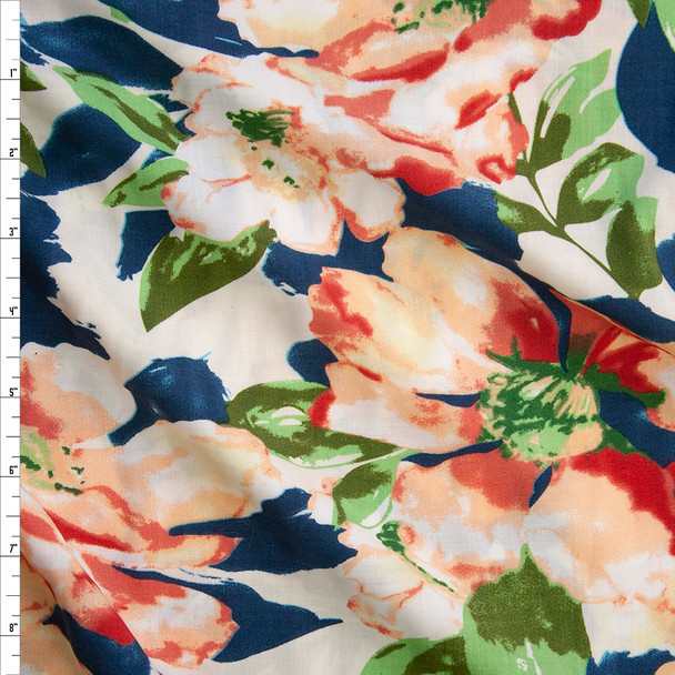 Red Orange, Ivory, and Teal Floral Rayon Challis Fabric By The Yard