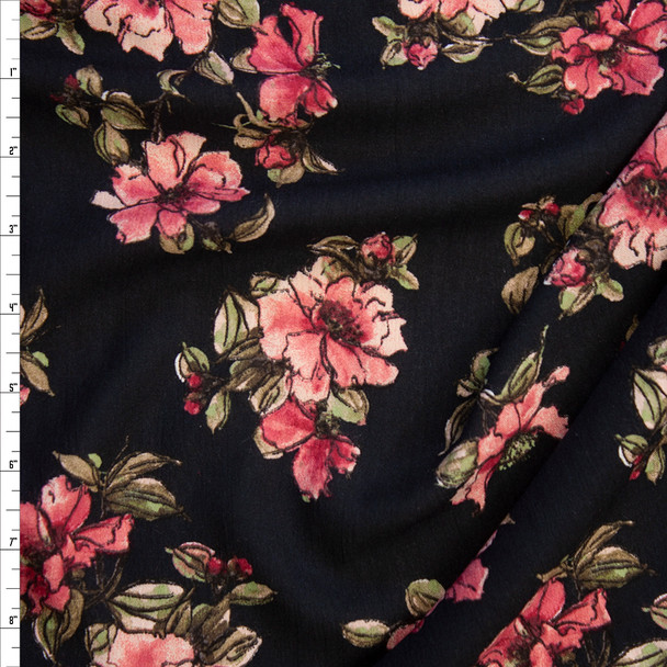 Pink and Sage Sketchbook Floral on Black Rayon Gauze Fabric By The Yard