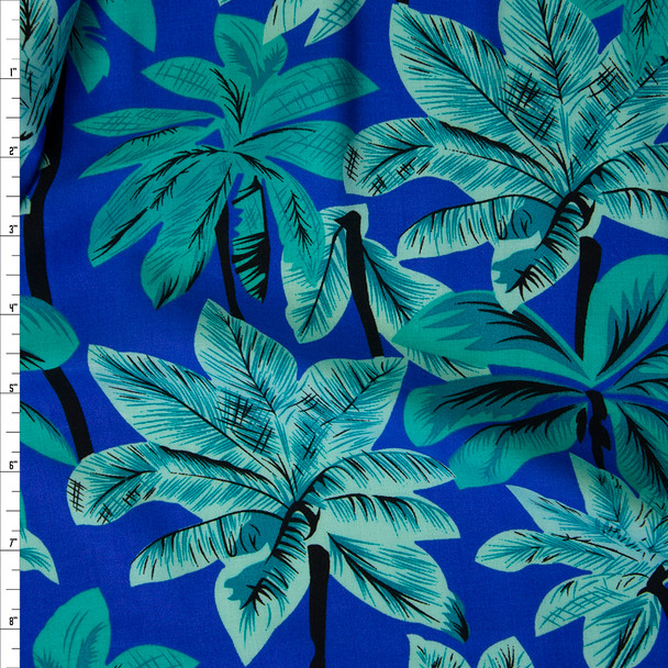 Mint and Seafood Palms on Royal Rayon Challis Fabric By The Yard