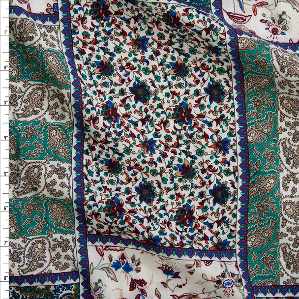 Emerald and Ivory Floral Patchwork Rayon Challis Fabric By The Yard