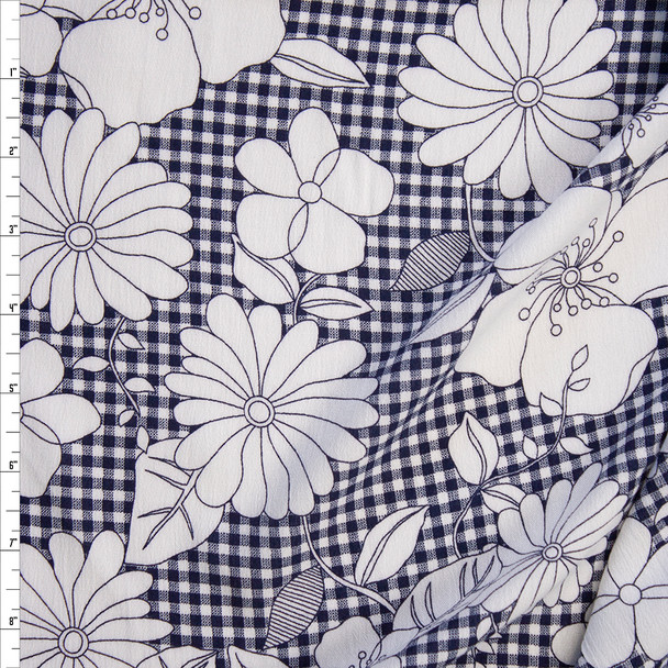 White Sketch Flowers on Navy Gingham Rayon Gauze Fabric By The Yard