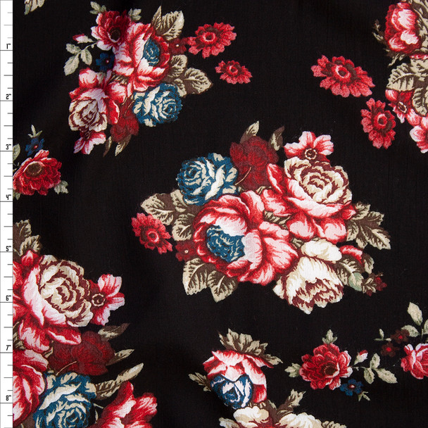 Red and Tan Rose Clusters on Black Rayon Gauze Fabric By The Yard