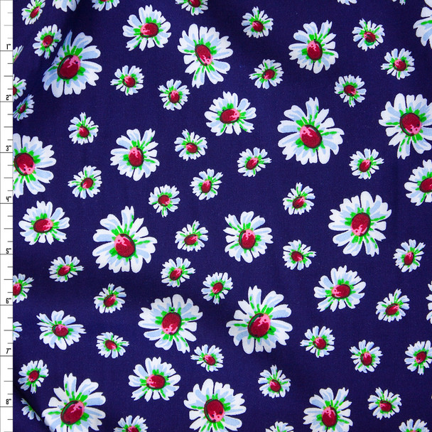 White and Lime Daisies on Royal Blue Rayon Challis Fabric By The Yard