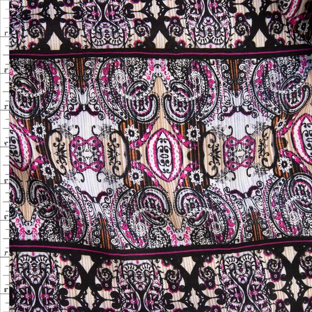 Hot Pink, Tan, and Black Boho Stripe Rayon Gauze Fabric By The Yard