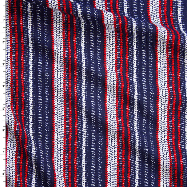 Red, White, and Blue Woven-Look Stripe Rayon Gauze Fabric By The Yard