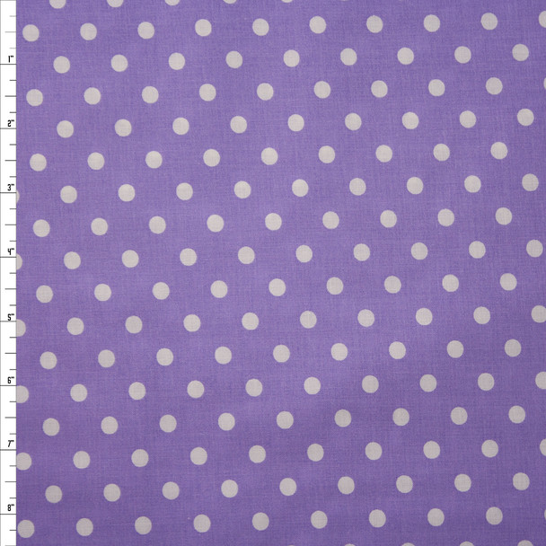 White on Lavender Polka Dots Quilter's Cotton Fabric By The Yard