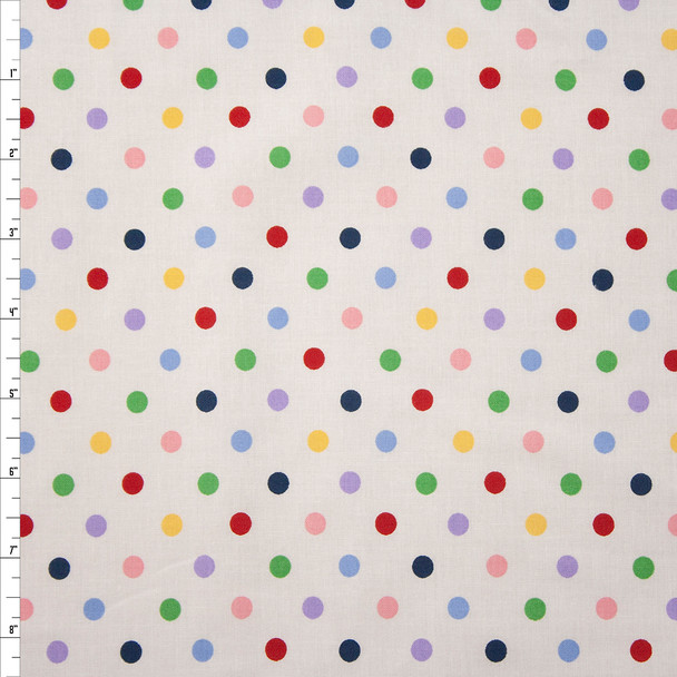 Multi Colored Polka Dots on White Quilter's Cotton Fabric By The Yard