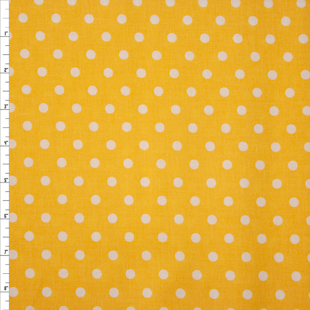 White on Yellow Polka Dots Quilter's Cotton Fabric By The Yard
