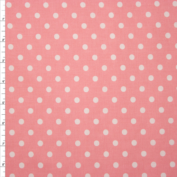 White on Pink Polka Dots Quilter's Cotton Fabric By The Yard