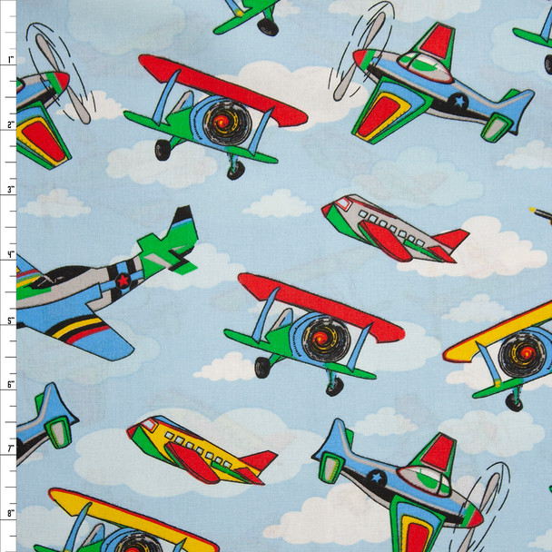 Airplanes and Clouds Quilter's Cotton Fabric By The Yard
