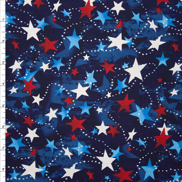 Patriotic Star Print 48476 Quilter's Cotton Fabric By The Yard