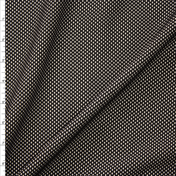 Black on Tan Textured Double Knit Fabric By The Yard