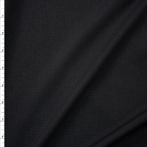 Black Stretch Grid Athletic Mesh Fabric By The Yard